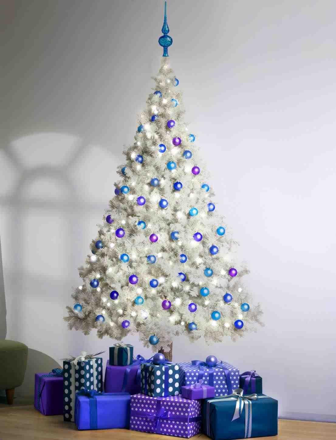 White Christmas Tree Blue Lights