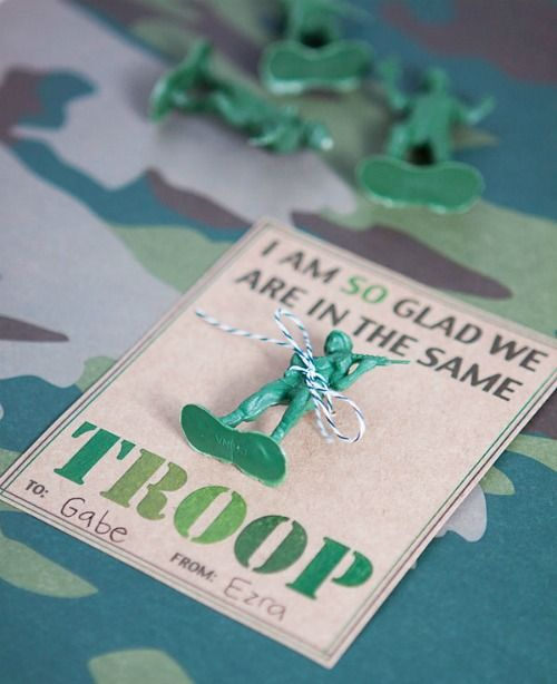 I am so glad we are in the same troop Army Valentine plus 28 Printable Valentines for the Kids - fun printables for homemade valentines on Frugal Coupon Living.