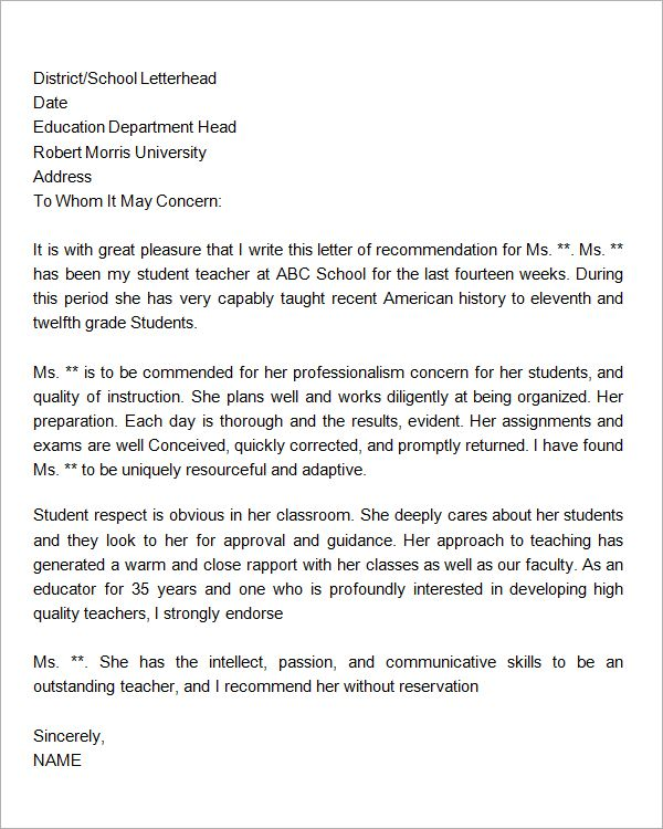 Letter Of Recommendation For Student Letter Reference
