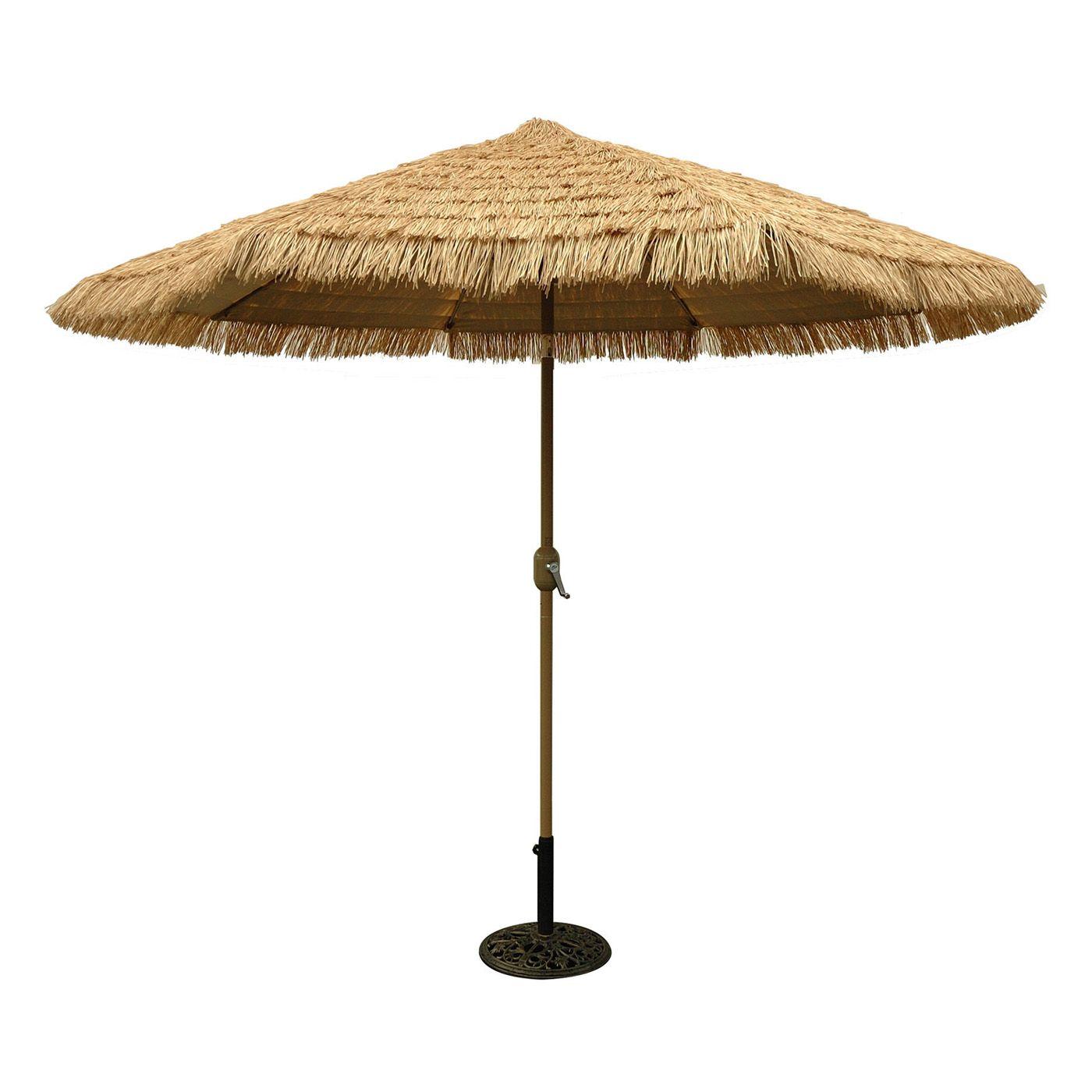 Shop Tropishade 636HC09 9 ft Aluminum Thatch Market Umbrella at