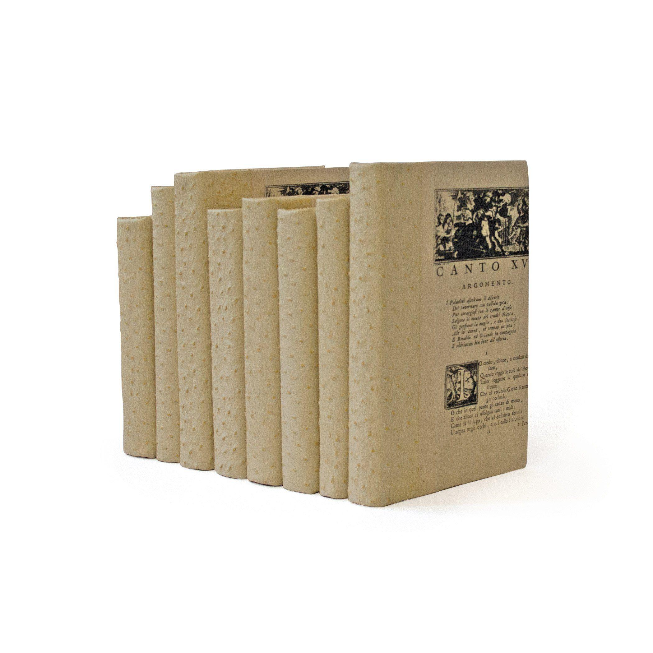 Dekorative Pergamentbücher – Ein linearer Fuß – Straußenweiß