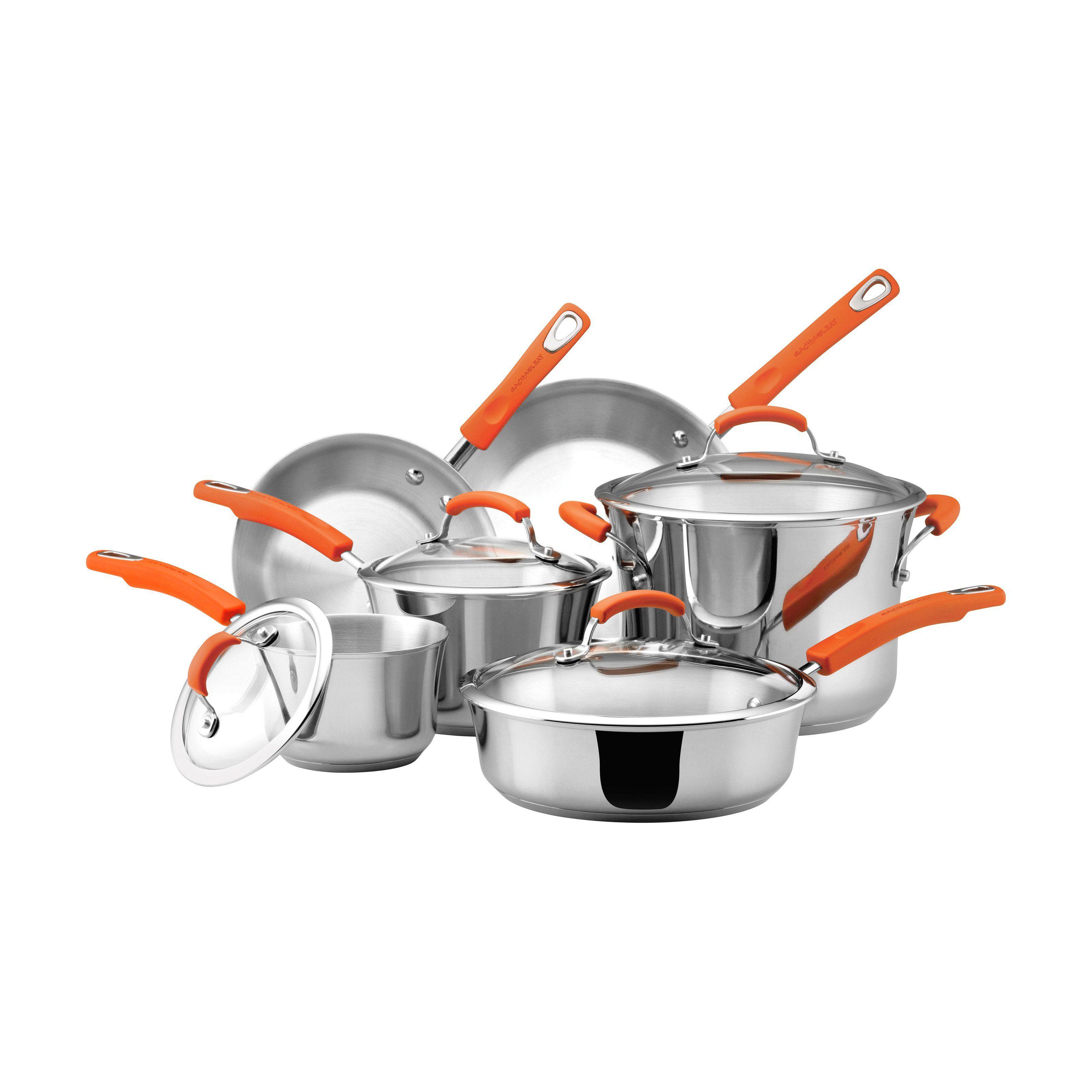 Rachael Ray Stainless Steel Ii 10 Piece Nonstick Cookware Set