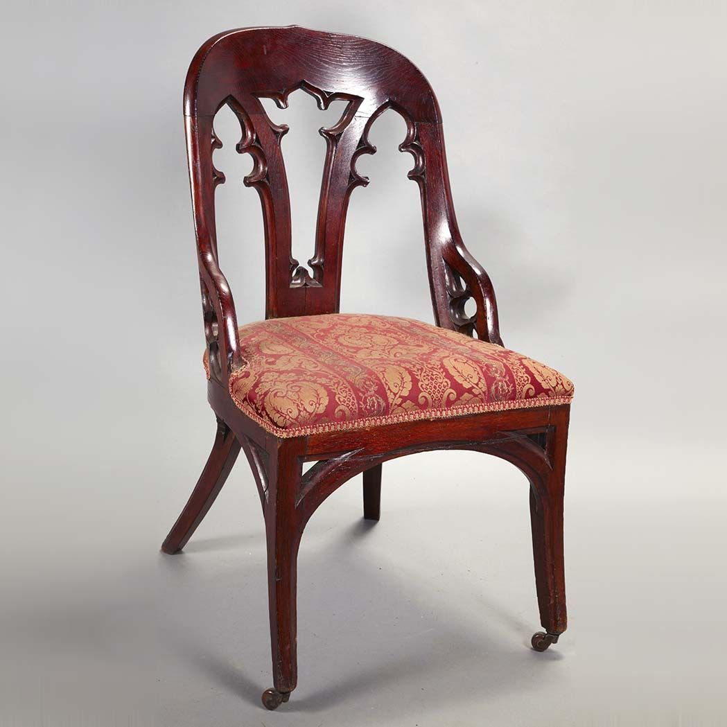 Gothic furniture chair - American Gothic Revival Carved Oak Side Chair Circa 1830