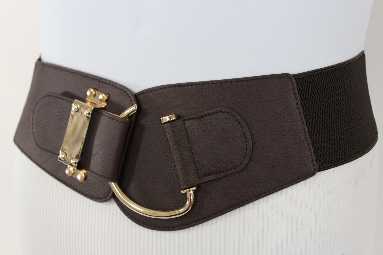 9a7c02a8d08 Blue Navy Blue Red White Pink Green Turquize Black Brown Dark Brown Beige  Gold Faux Leather Hip Waist Elastic Belt Big Gold Hook Buckle New Women  Fashion ...