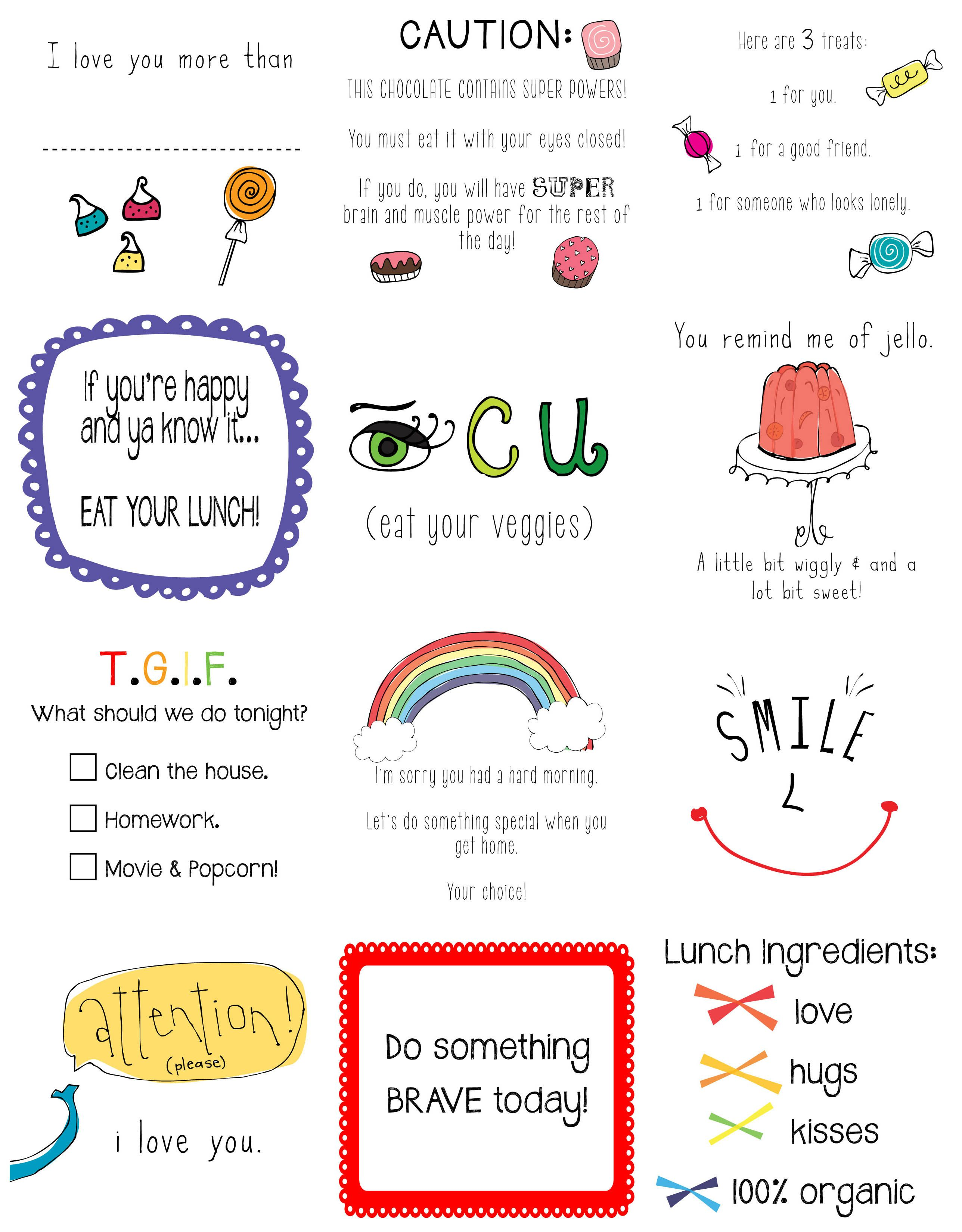 Lunchbox Notes Free Printables