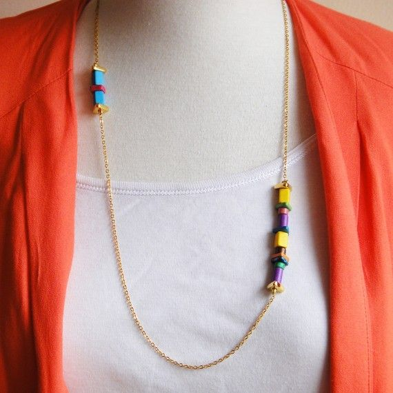 Gold plated necklace with ceramic beads