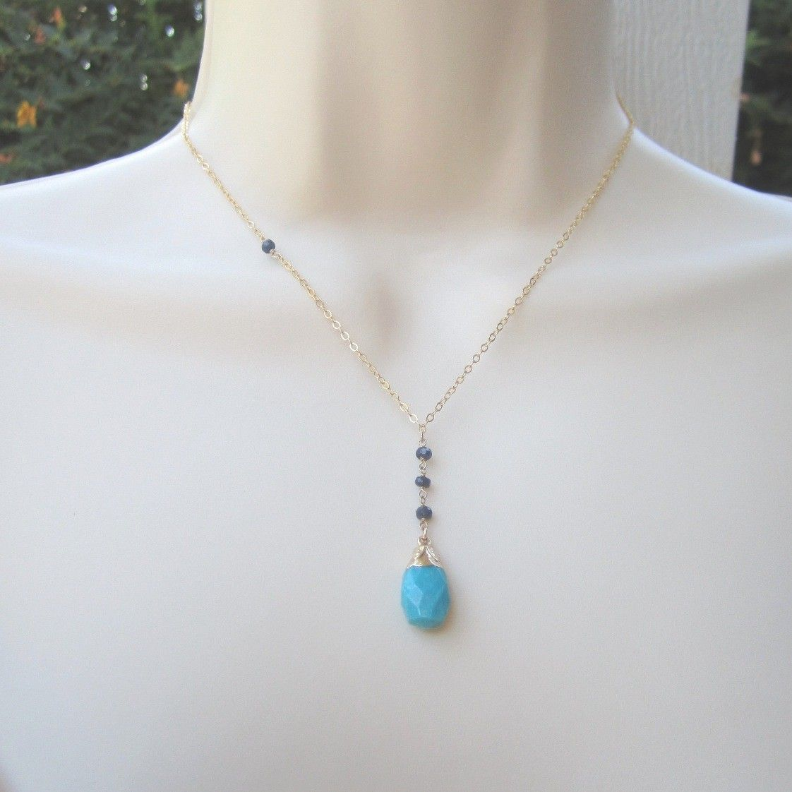 Beautiful genuine turquoise briolette and royal sapphire gold filled necklace