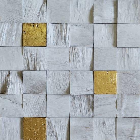 Brogliato Revestimentos - Coleções - Coleção Diálogo - C101 Decapê Branco/Ouro - 30x30cm.