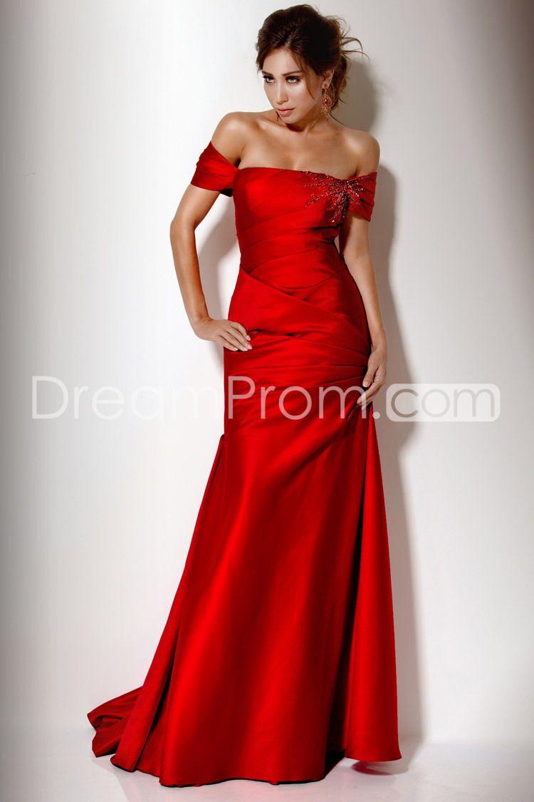 Splitfront floor length off the shoulder evening dress prom