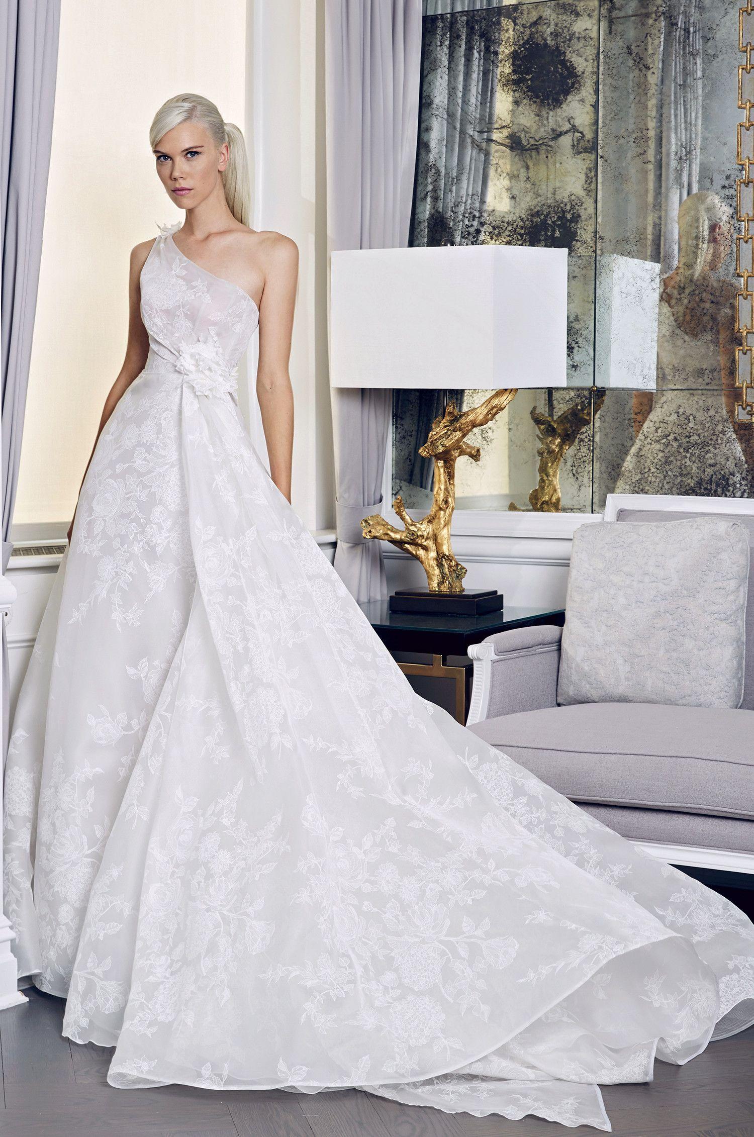 Oneshoulder floral wedding dress with cinched waistline freedom
