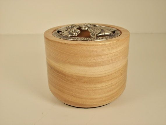 Handmade red elm potpourri bowl with pewter lid by alamocrafter