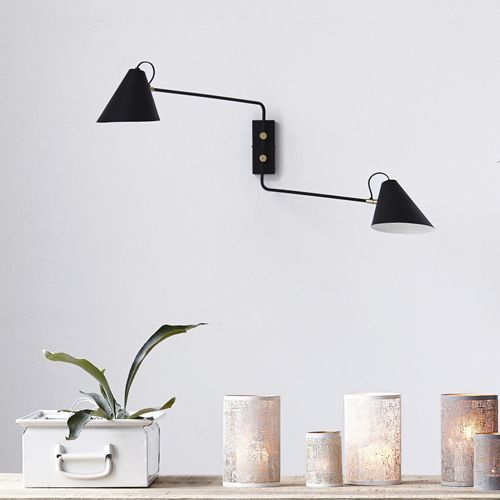 excellent applique murale double en fer noir mat et laiton club house doctor with ampm applique. Black Bedroom Furniture Sets. Home Design Ideas