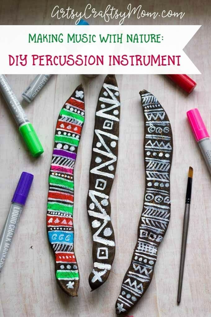making music with nature diy percussion instrument pinterest
