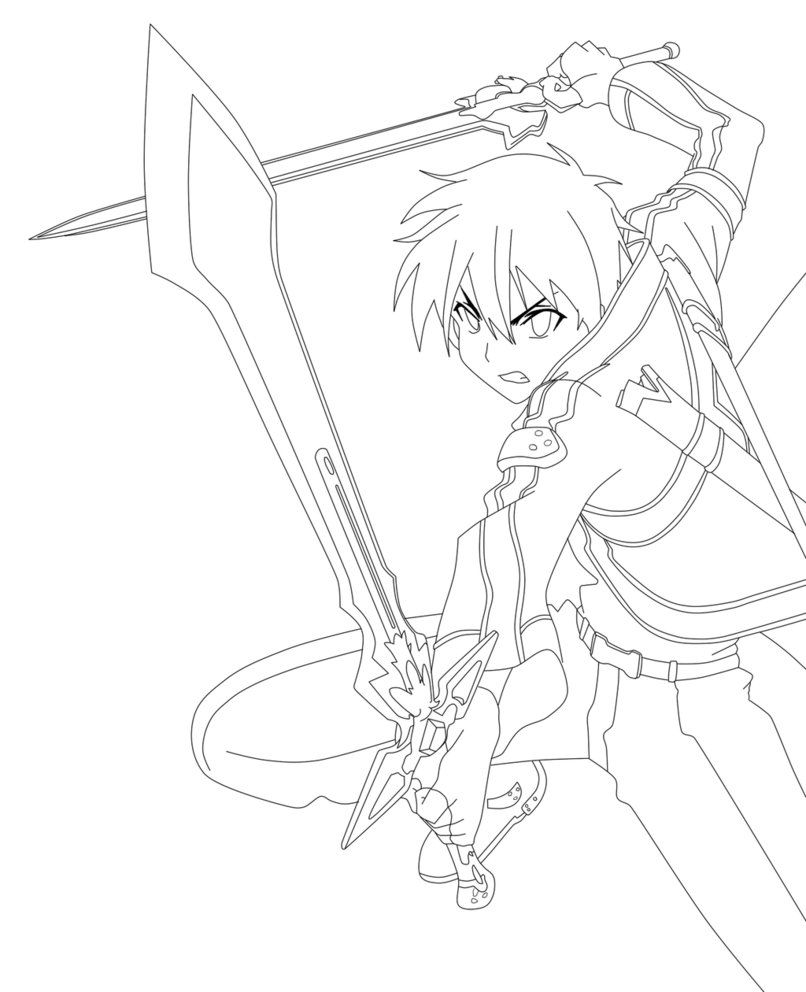 Sword Art Online Kirito Lineart by animemineus | coloring page ...