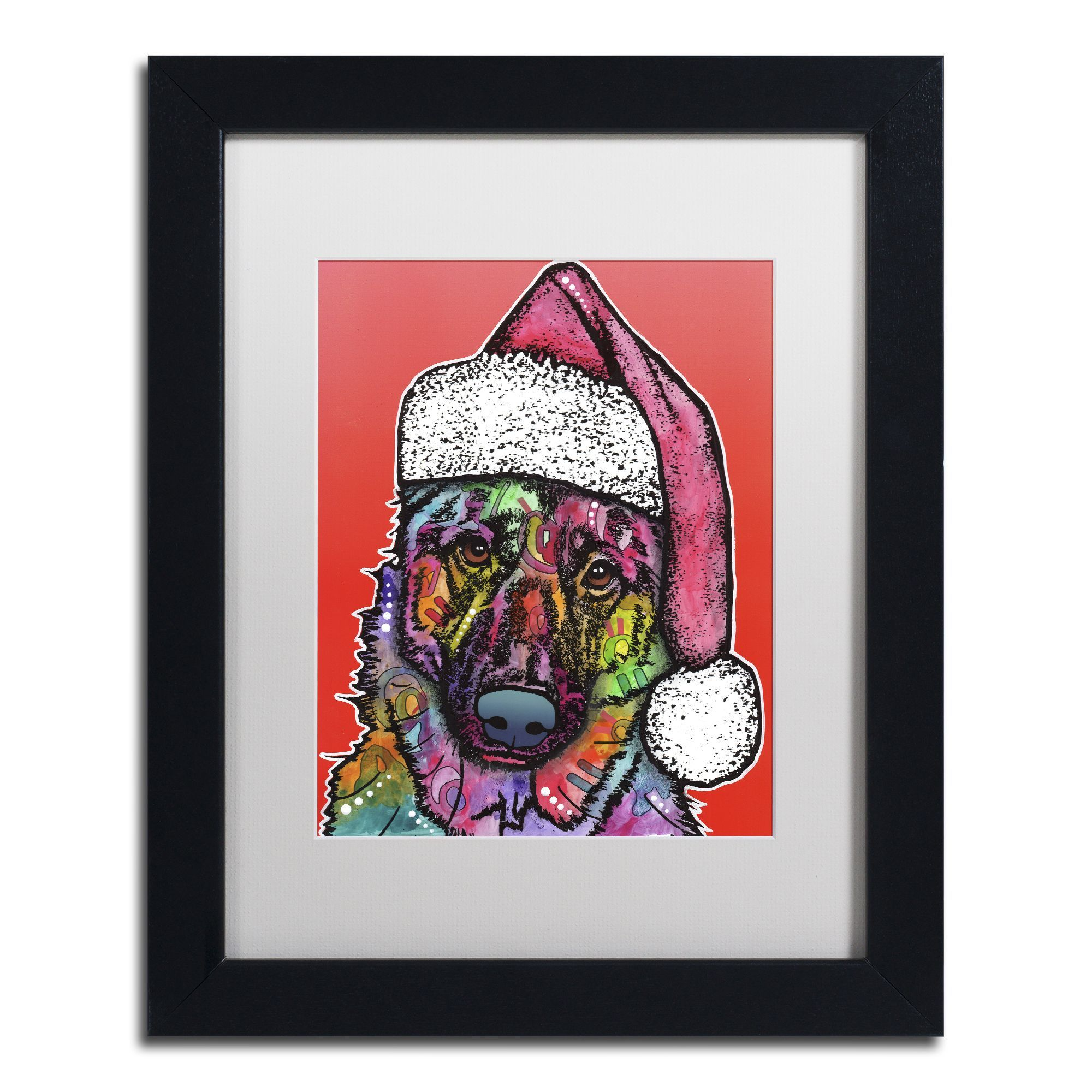 Dean Russo 'Christmas Dog' Matted Framed Art