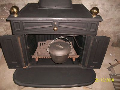 Sears wood stove | SEARS FRANKLIN ANTIQUE CAST IRON WOOD STOVE / FIREPLACE - Sears Wood Stove SEARS FRANKLIN ANTIQUE CAST IRON WOOD STOVE