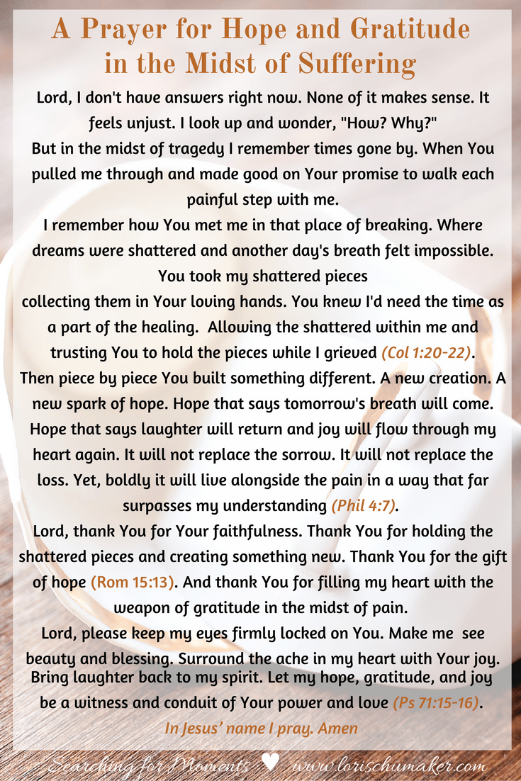 A Prayer For Hope And Gratitude In The Midst Of Suffering Momentsofhope Link Up Lori Schumaker Prayers For Hope Prayers Prayers For Healing