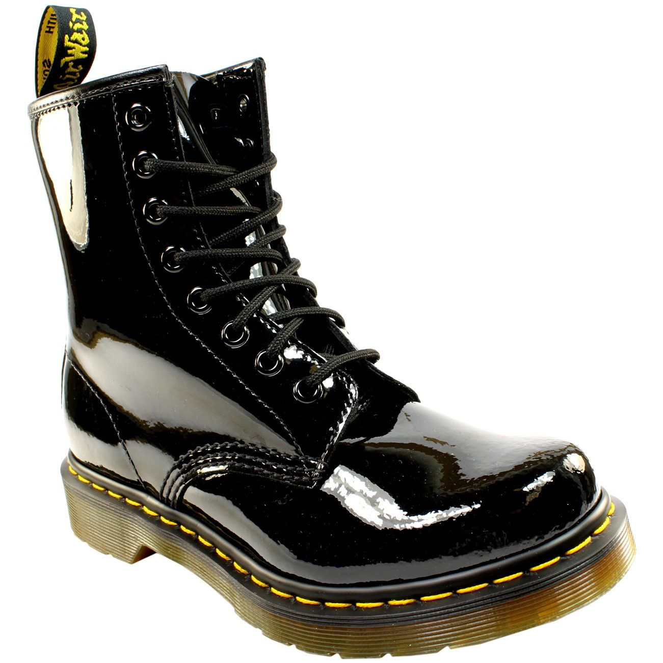 Dr Martens Womens 1460 W 8 Eyelet Patent Lamper Army Combat Lace Up Boot Black 8 More Info Could Be Found At Boots Boot Shoes Women Womens Mid Calf Boots