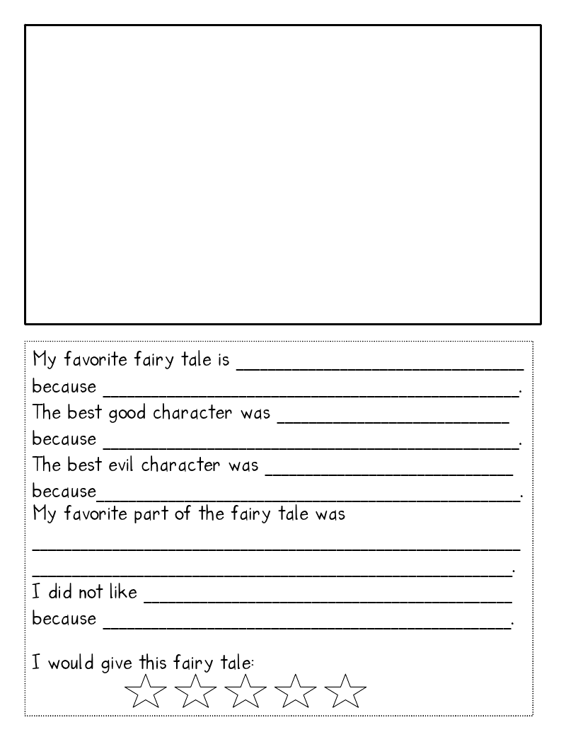 free printable fairy tale reading response sheet reading
