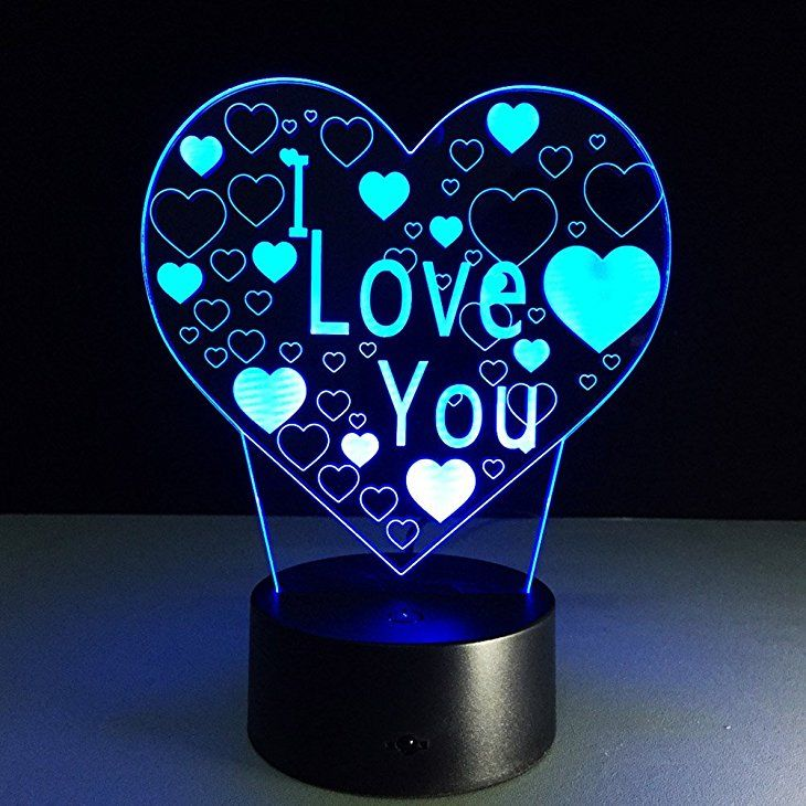 LEDMOMO 3D Herz Formen Nachtlichter 7 Farben LED Lampe Touch USB  Fernbedienung Tischlampe Für Paar Romantische Nacht Valentinstag Liebhaber  Schlafzu2026