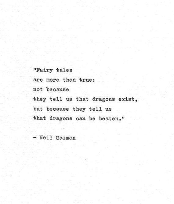 "Neil Gaiman Typewriter Print 'Dragons can be beaten"" Inspirational Book Quote, Coraline, Dragon Quot"