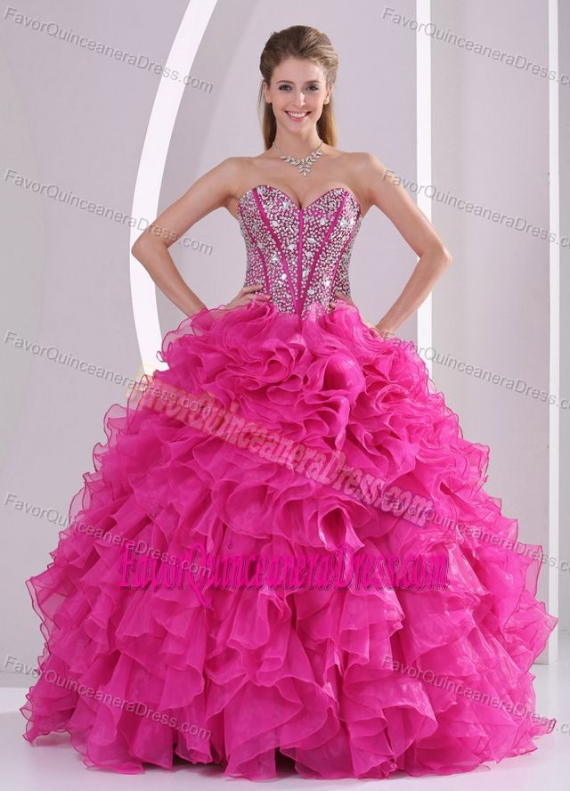 543b0cb90a Vestidos de 15 anos. Fuchsia Sweetheart Ball Gown Beaded Dress for  Quinceanera with Ruffles