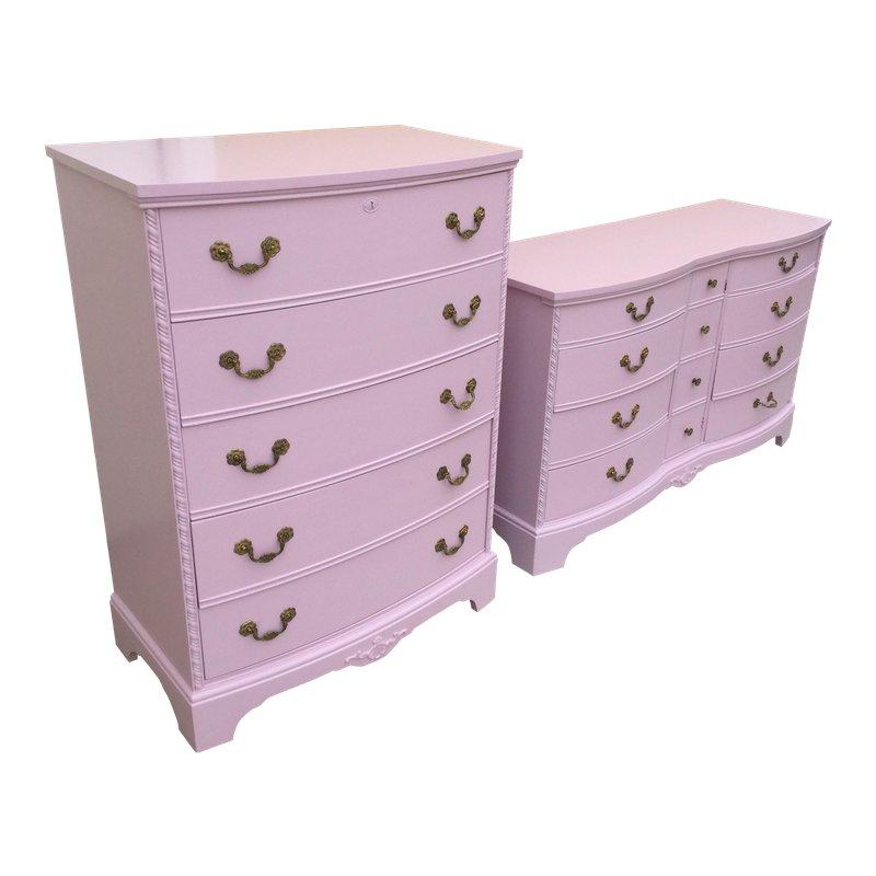1960s French Pink Dresser Set 2