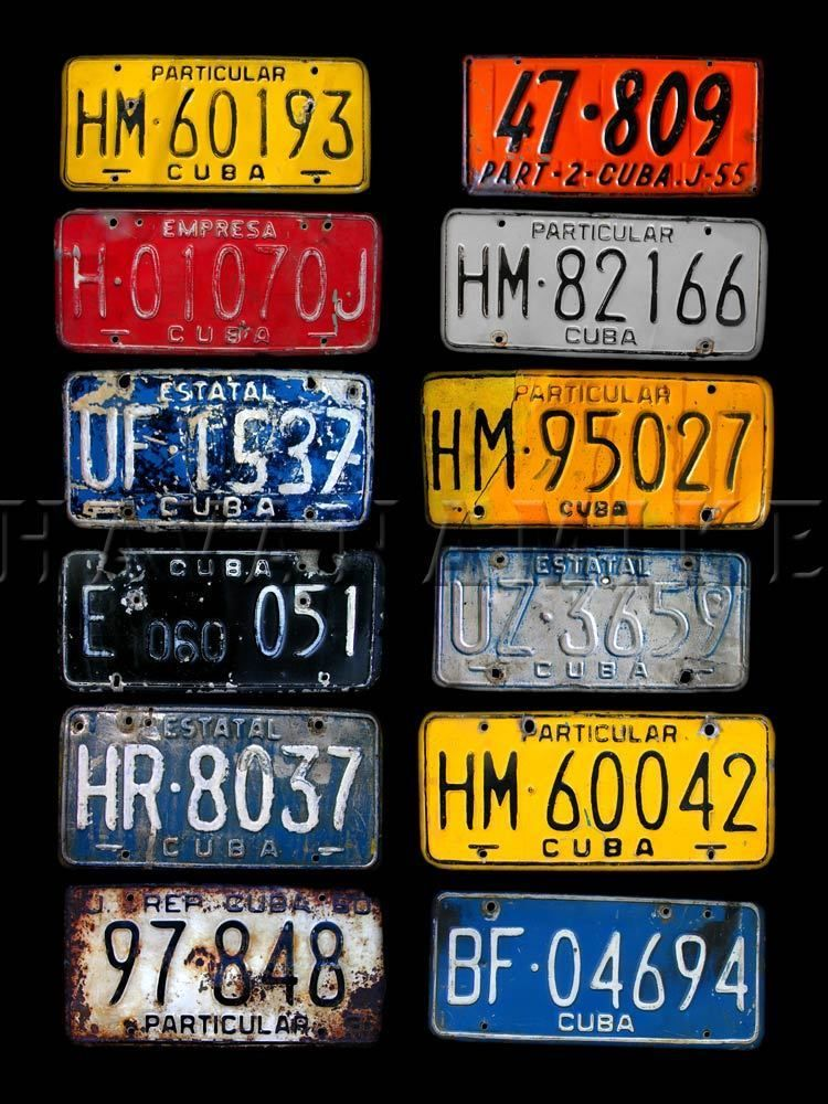Old CUBAN Cigar Car VINTAGE LICENSE PLATE Tags Antique Photo Print ...