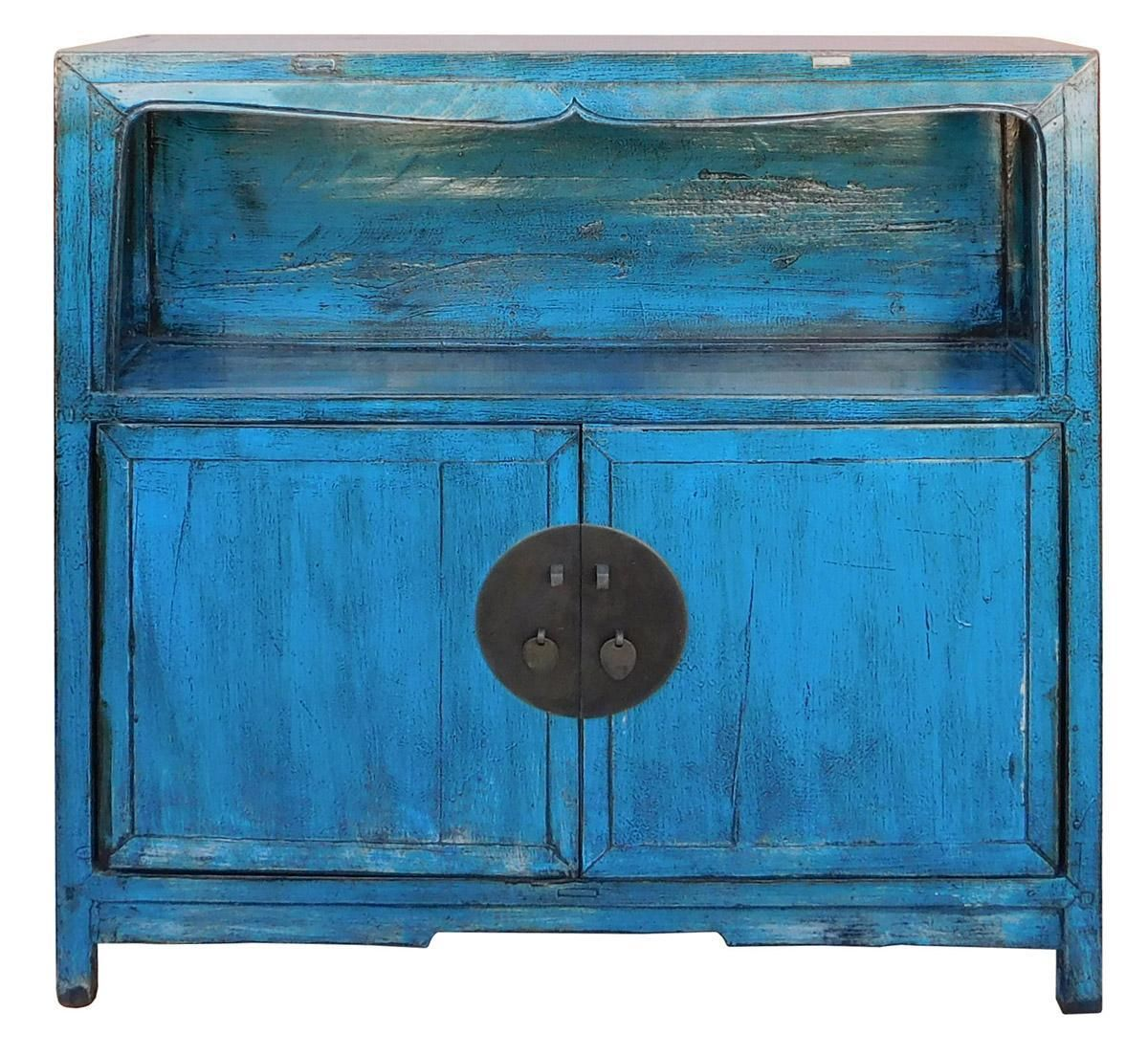 Distressed Chinese Blue Narrow Console Cabinet On Chairish Com