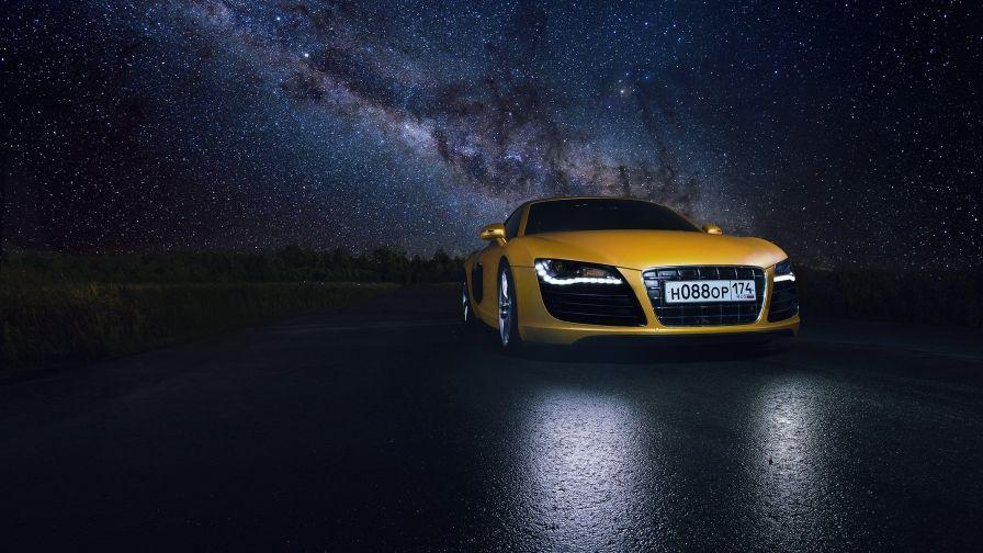 Audi R8 Yellow Super Car Night Hd Wallpaper Download Hd Wallpapers