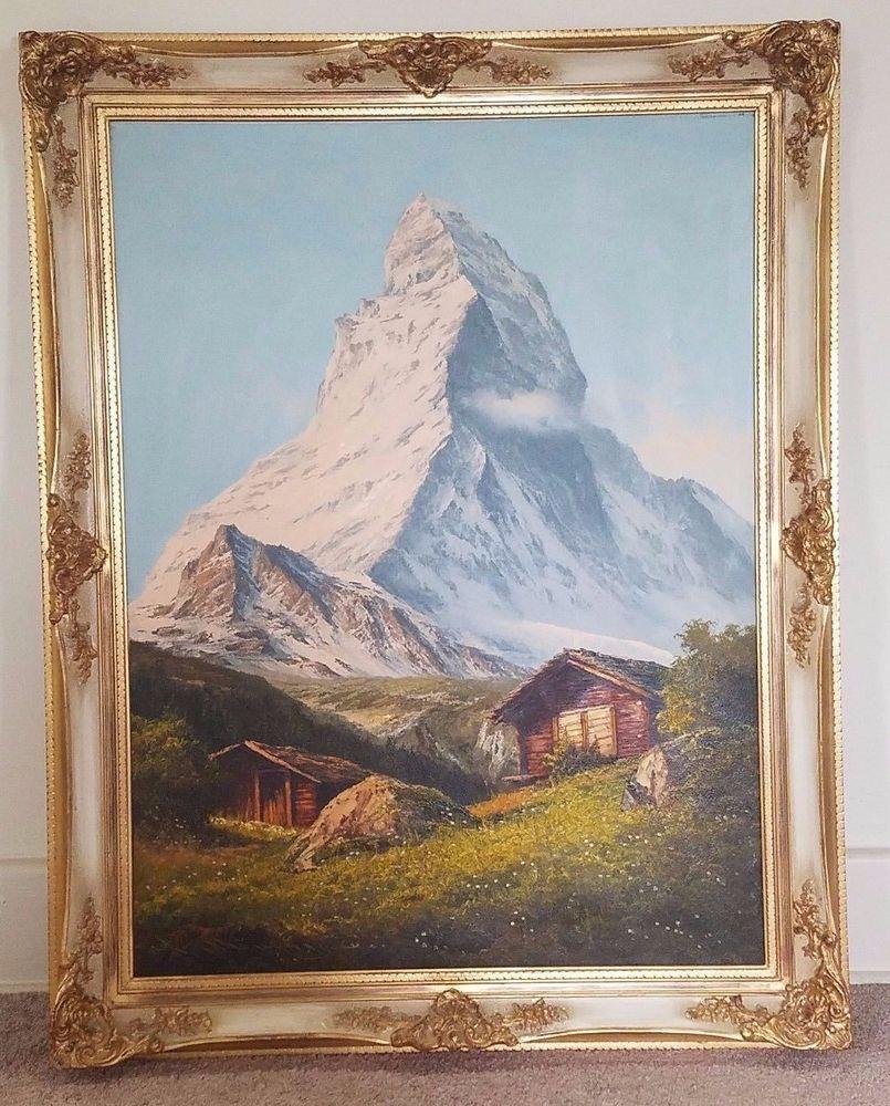 antique wood picture frames. Matterhorn Mountain Switzerland Oil Painting 30x38 Antique Gold Gilt Wood Frame Picture Frames