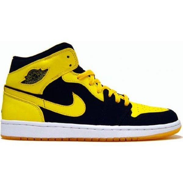 3dfa566094d Shop Air Jordan 1 I Retro Trainers BMP Split Black Yellow nike running... ❤  liked on Polyvore featuring shoes