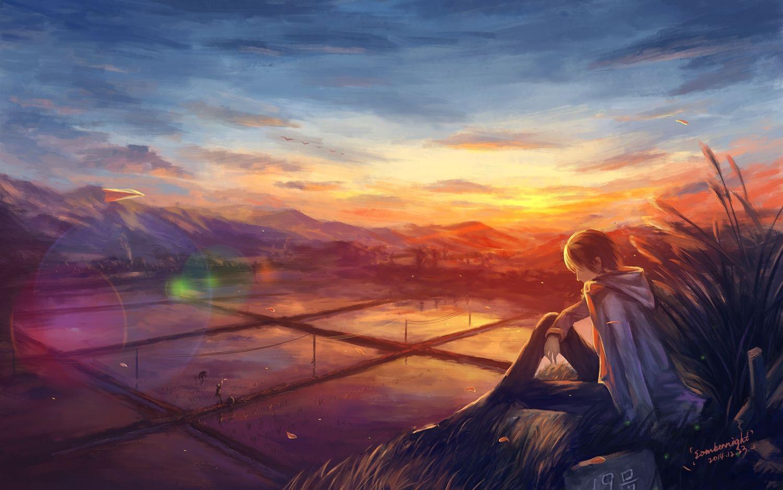 Clouds Landscape Male Original Scenic Signed Sky Sombernight Sunset Konachan Com Anime Art Beautiful Anime Art Fantasy Anime Art Dark