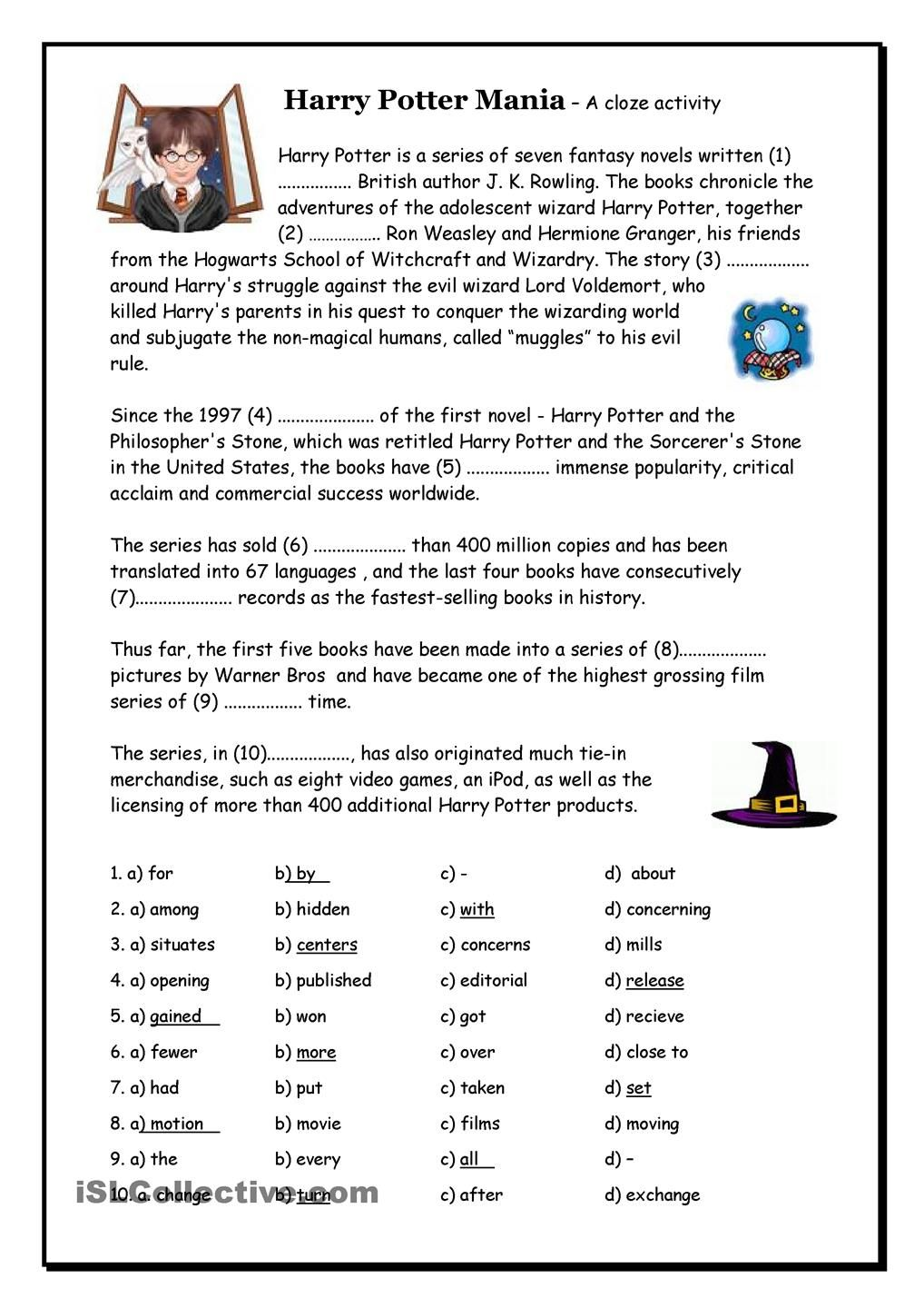 worksheet Harry Potter Worksheets harry potter mania cloze school literature fables fairy worksheet free esl printable worksheets made by teachers