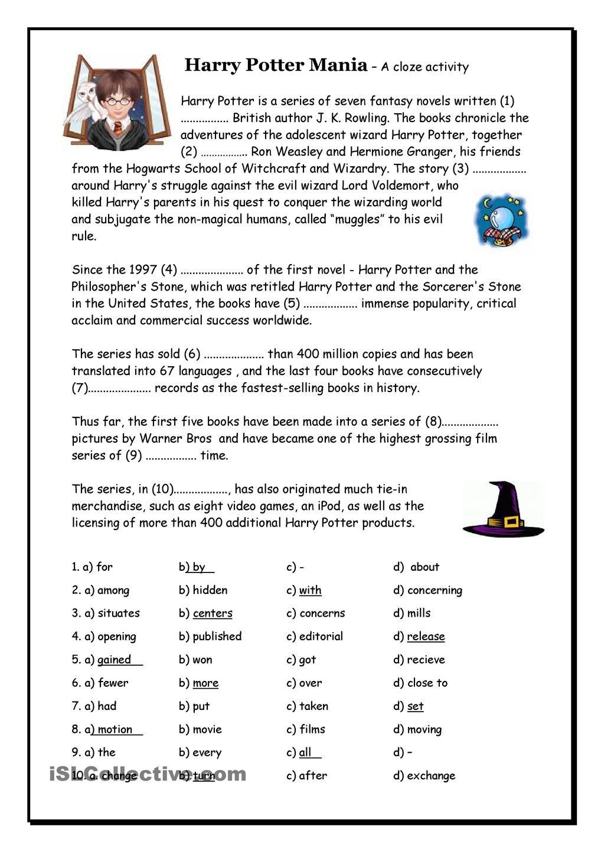 Uncategorized Harry Potter Worksheets harry potter mania cloze school literature fables fairy cloze