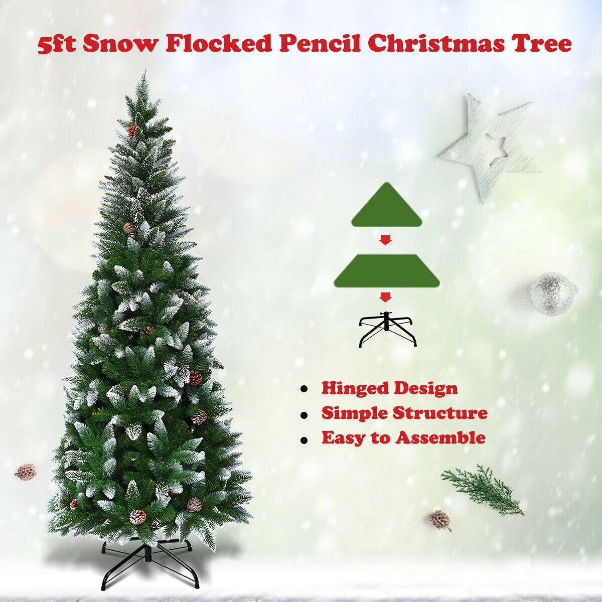 5 6 7 5 Artificial Pencil Christmas Tree With Pine Cones Pencil Christmas Tree Pine Cone Christmas Tree Christmas Tree