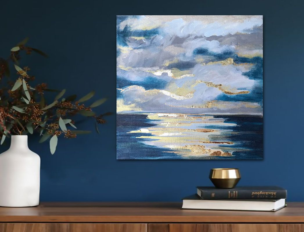 AT SEA' original abstract painting with gold leaf by Linnea Heide ...