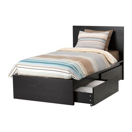 Malm High Bed Frame 2 Storage Boxes Black Brown Twin High Bed