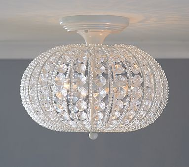 Clear Acrylic Round Flushmount Chandelier #pbkids  ? if chandelier is too low for this low ceiling'd room.....only 80 watts, though
