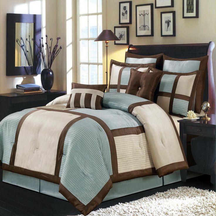 8pc modern color block blue brown ivory comforter set