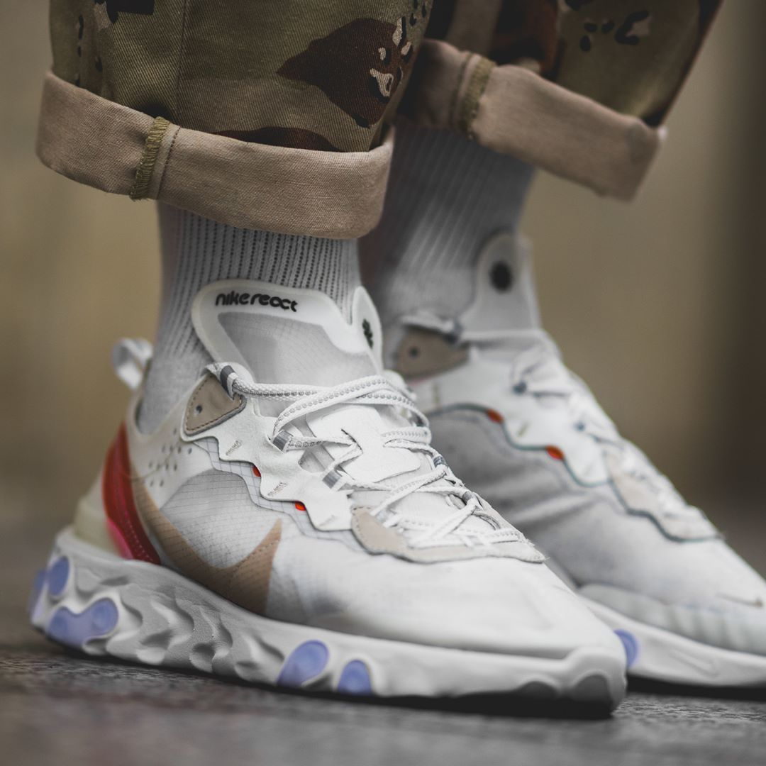 Release Date   June 21, 2018 Nike React Element 87 Sail   Light Bone    Orange Credit   BSTN 147ae25b364