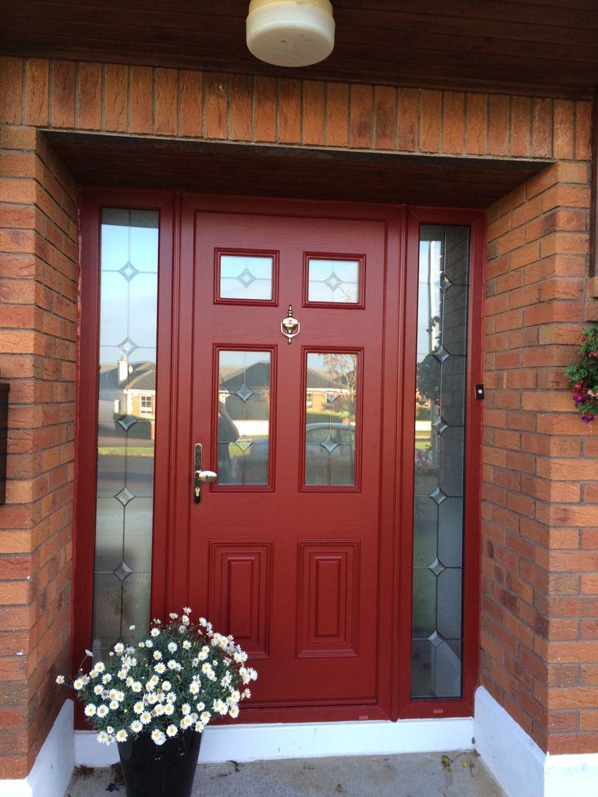 Beautiful Red Composite Door Toughened Safety Glass With Bevel