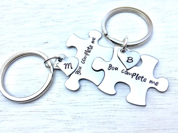 You Complete Me, Personalized Puzzle Keychain, Boyfriend