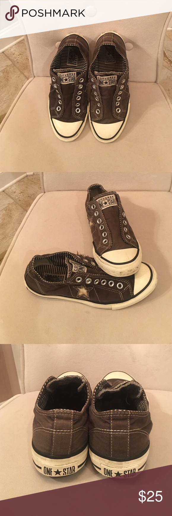 Shoes Converse Dark Gray with cream stars on side. Great for just kicking it back or a Sat. at the park. You will surely loves these as your to go shoes. No laces as they have a stretch band that fits comfy on top of your feet. Converse Shoes Sneakers