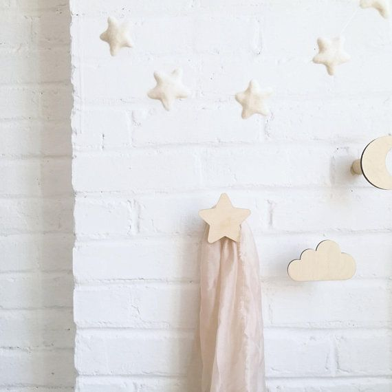 Wall Hook Cloud Star Moon Nursery Decor