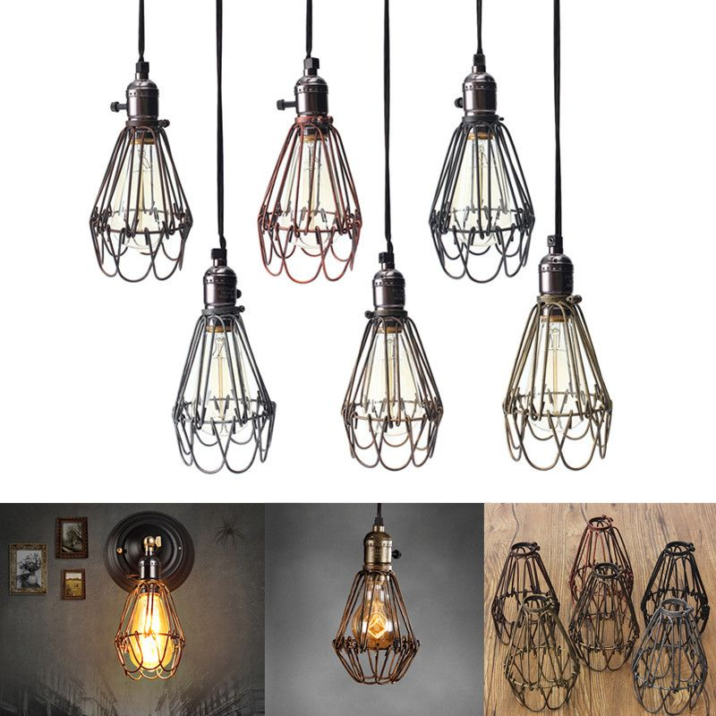 Retro vintage industrial lamp covers pendant trouble light bulb retro vintage industrial lamp covers pendant trouble light bulb guard wire cage ceiling fitting hanging bars keyboard keysfo Images