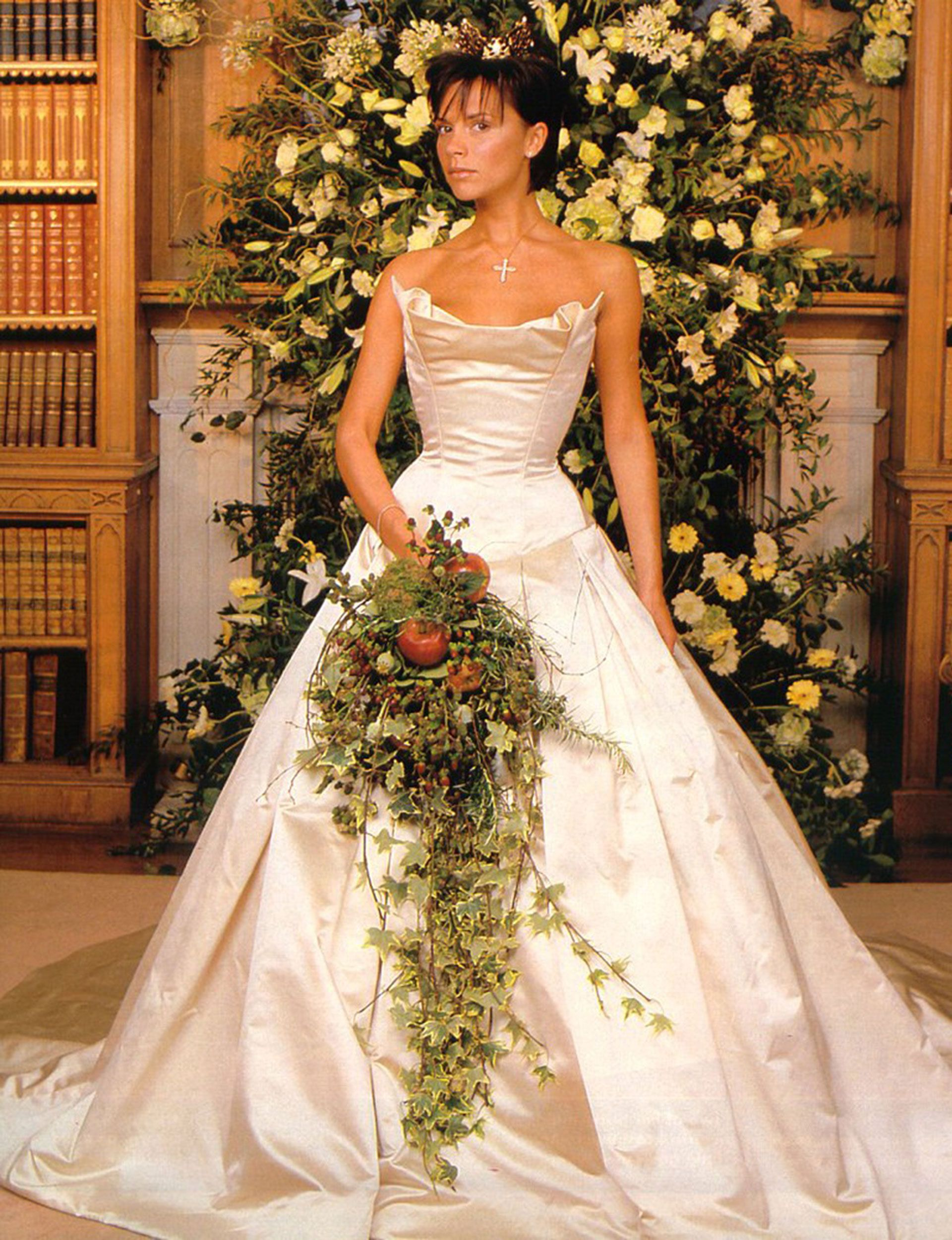 The Evolution Of Bridal Hairstyles Famous Wedding Dresses Expensive Wedding Dress Victoria Beckham Wedding [ 2500 x 1920 Pixel ]