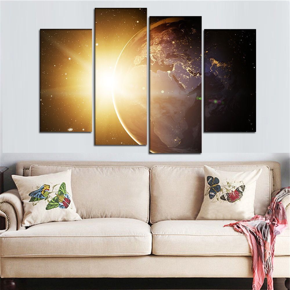 $36.48 - Awesome 4 Pieces Framed Wall Art Canvas Sunlight Painting Planet Earth Poster Space Picture HD Canvas Print Custom - Buy it Now! #canvasprint #canvaspainting #canvasart #wallart #walldecor #walldecoration #homeart #homedecor #homedecoration #modern #home #interior #ideas #style #decor #decorideas