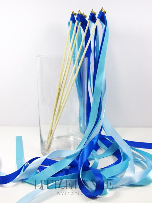 blue ribbon wands for a mermaid party at www littledanceinvitations