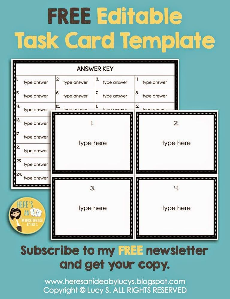 Editable Task Card Template - Free for Newsletter Subscribers - line card template
